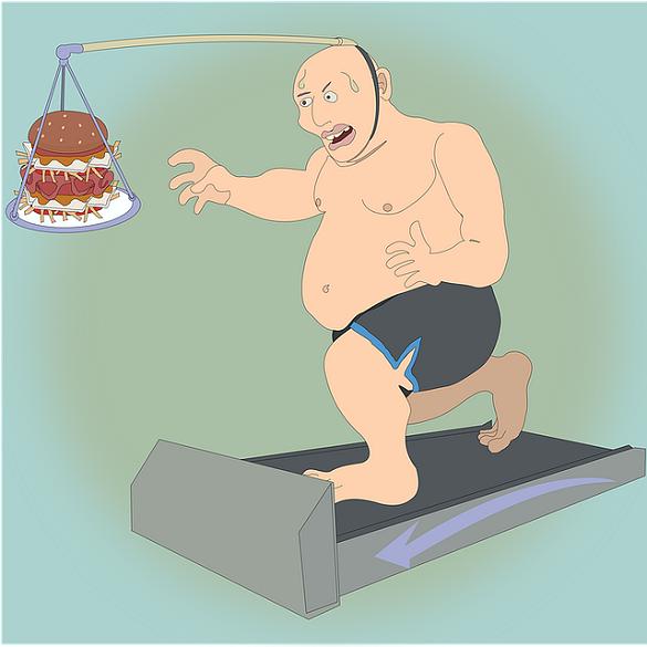 Нарисованный мужчина бежит на беговой дорожке и тянется за едой