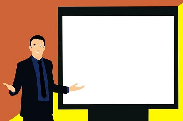 Нарисованный мужчина стоит перед экраном